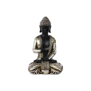 Resin Meditating Buddha Figurine in Abhaya Mudra with Rounded Ushnisha Silver