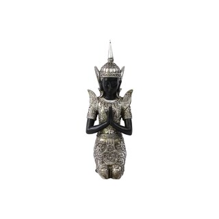Resin Kneeling Buddha Figurine in Anjali Mudra with Pointed Ushnisha Silver
