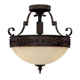 Capital Lighting River Crest Collection 3-light Rustic Iron Semi Flush Fixture