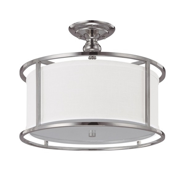 Capital Lighting Midtown Collection 3-light Polished Nickel Semi Flush Fixture