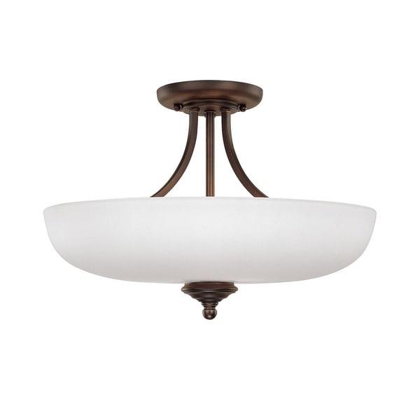 Capital Lighting Chapman Collection 3 Light Burnished Bronze Semi Flush Fixture