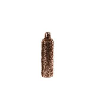 UTC27501: Ceramic Bottle Vase with Engraved Criss Cross Design SM Electroplated Finish Rose Gold