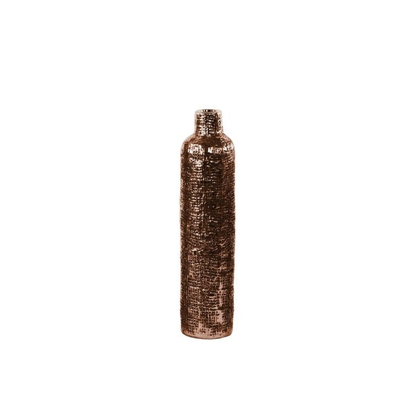 UTC27502: Ceramic Bottle Vase with Engraved Criss Cross Design MD Electroplated Finish Rose Gold
