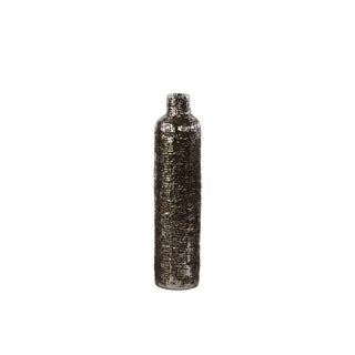 UTC27505: Ceramic Bottle Vase with Engraved Criss Cross Design MD Electroplated Finish Antique Silver