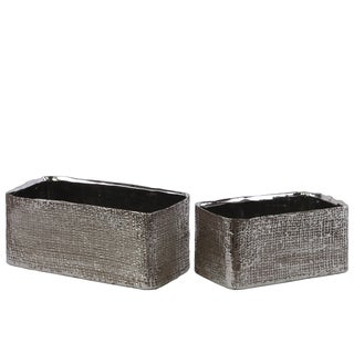 Antique Silver Ceramic Rectangular Planter with Engraved Criss Cross Design (Set of 2)