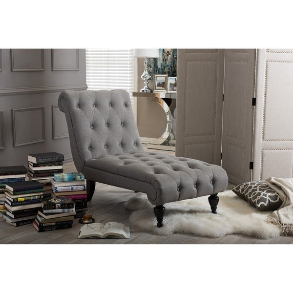 Baxton studio layla mid century retro modern grey fabric for Button tufted chaise lounge