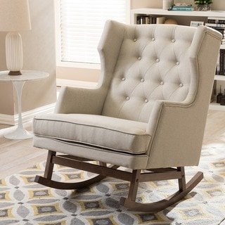 Baxton Studio Iona Mid-century Retro Modern Light Beige Fabric Upholstered Button-tufted Wingback Ro