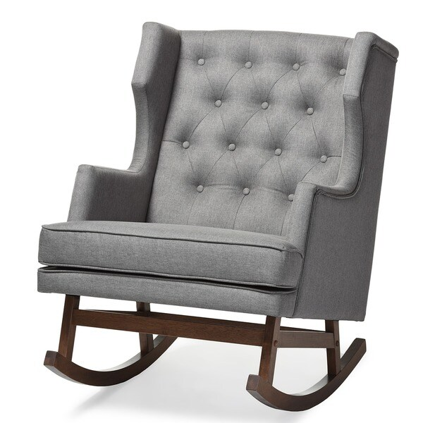 Contemporary Grey Fabric Rocking Chair By Baxton Studio   Free Shipping  Today   Overstock.com   17945871