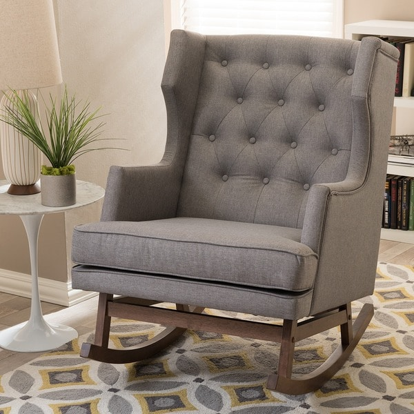 Gracewood Hollow Lu0026#x27;Engle Contemporary Grey Fabric Rocking Chair