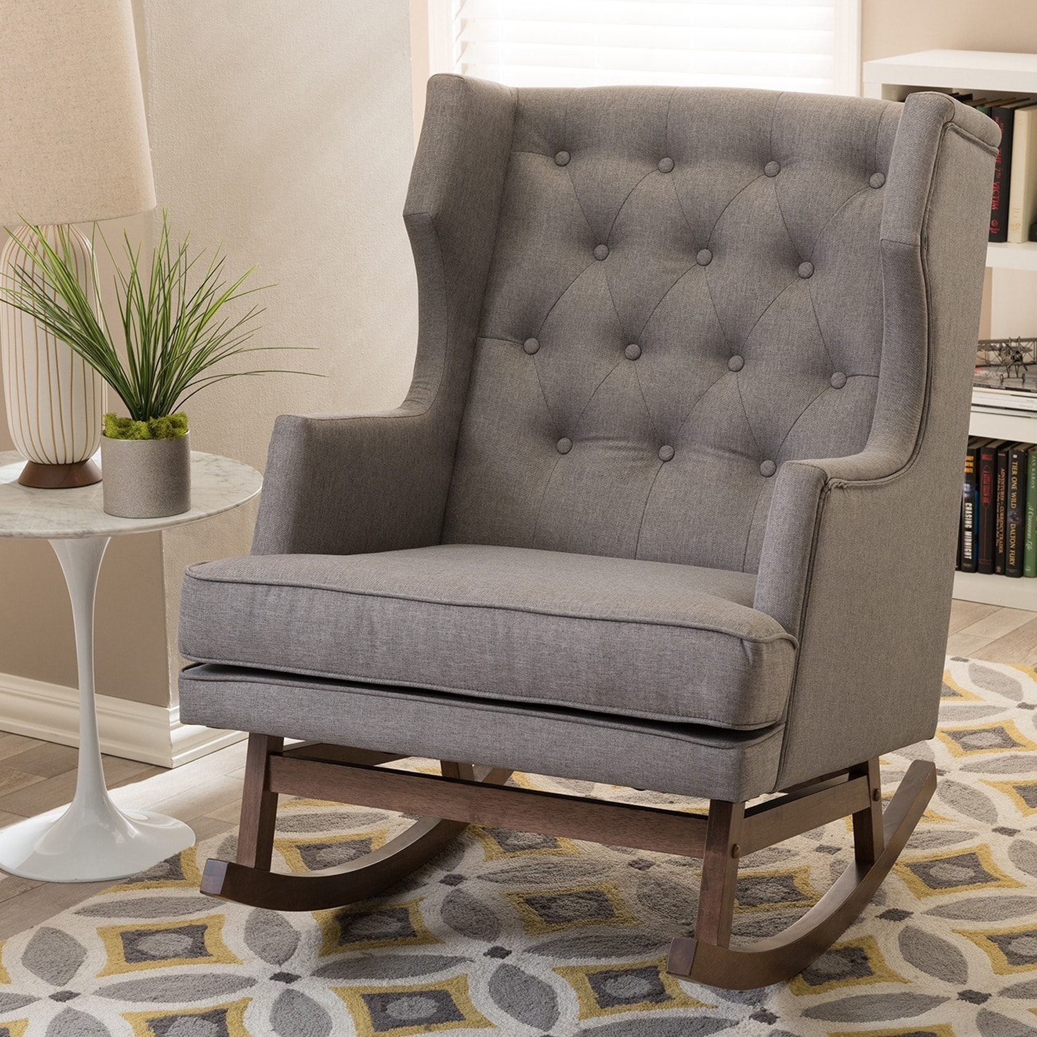 Contemporary Grey Fabric Rocking Chair By Baxton Studio