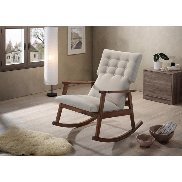 Upholstered Rocking Chair Slipcover Glider Rocker With Ottoman Studio Mid  Century Modern Light Beige Fabric Button