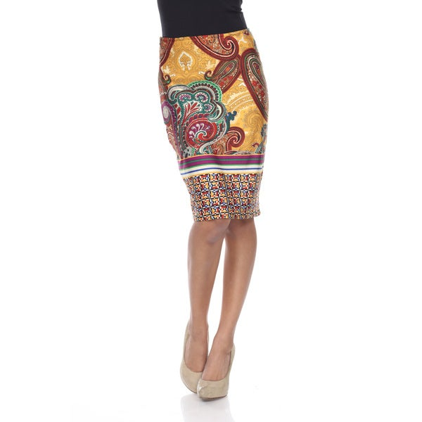 White Mark Women's Pretty and Proper Print Pencil Skirt. Opens flyout.