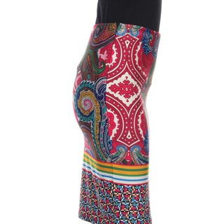 White Mark Women's Pretty and Proper Print Pencil Skirt