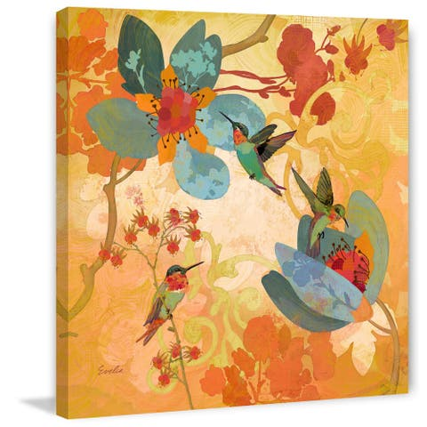 Marmont Hill - Handmade Humming Birds Aqua Painting Print on Canvas