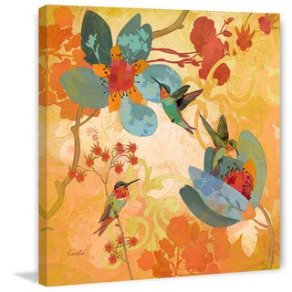 Marmont Hill - Humming Birds Aqua by Evelia Painting Print on Canvas