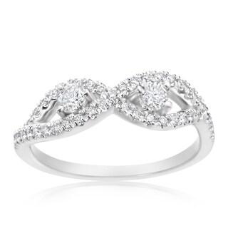 Summer Rose 14k White Gold 2/5ct TDW Diamond Forever 2-stone Ring