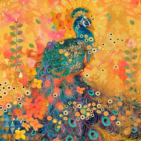 Marmont Hill - Handmade AfriKarma Peacock Painting Print on Canvas