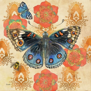Marmont Hill - Blue Pansy Buttery by Evelia Painting Print on Canvas