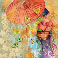 Marmont Hill - Umbrella Butteries by Evelia Painting Print on Canvas - Multi-color