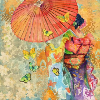 Marmont Hill - Umbrella Butteries by Evelia Painting Print on Canvas - Multi-color (5 options available)