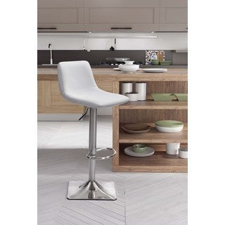 Cougar White or Tan Leather and Chrome Bar Chair