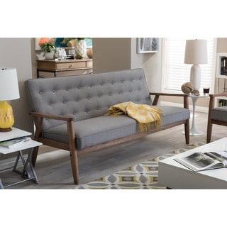 Baxton Studio Sorrento Mid-century Retro Modern Grey Fabric Upholstered Wooden 3-seater Sofa