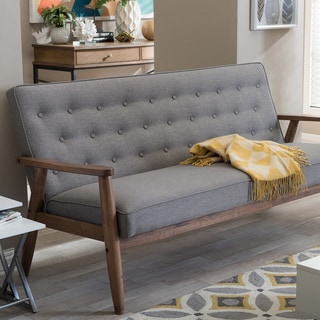 Baxton Studio Sorrento Midcentury Retro Modern Grey Fabric Upholstered  Wooden 3 Seater Sofa