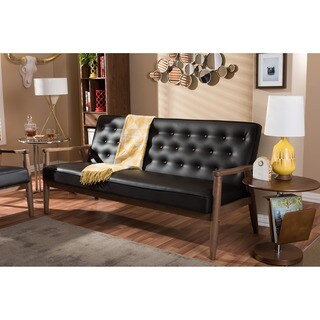 Baxton Studio Sorrento Mid-century Retro Modern Brown Faux Leather Upholstered Wooden 3-seater Sofa