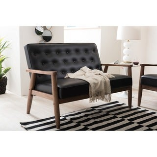 Baxton Studio Sorrento Mid-century Retro Modern Black Faux Leather Upholstered Wooden 2-seater Loveseat