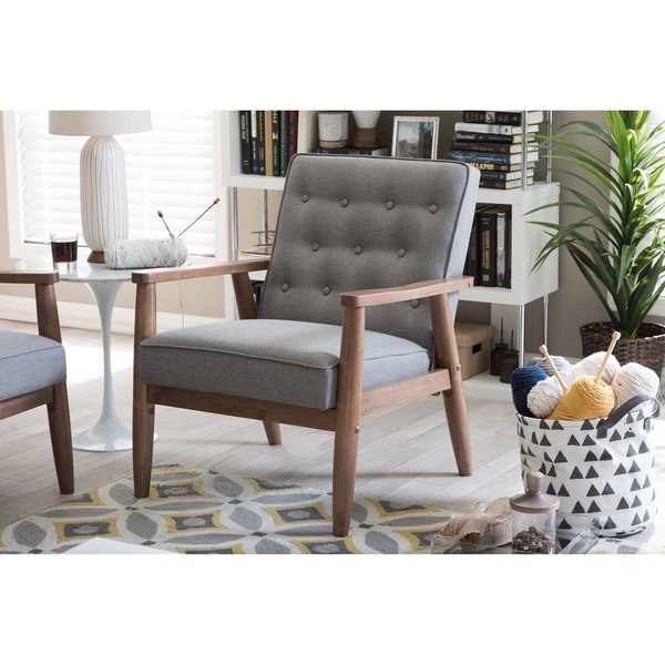 Baxton Studio Sorrento Mid-century Retro Modern Grey Fabric Upholstered Wooden Lounge Chair  sc 1 st  Overstock.com & Shop Baxton Studio Sorrento Mid-century Retro Modern Grey Fabric ...