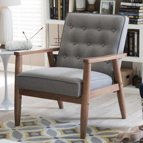 Upholstered Grey Rubberwood Mid-century Modern Arm Chair