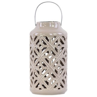 Ceramic Cylindrical Lantern with Cutout Walls and Metal Handle Gloss Mocha