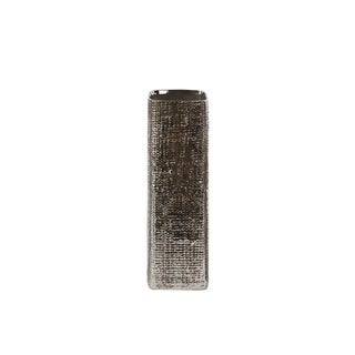 UTC27525: Ceramic Tall Square Vase with Engraved Criss Cross Design MD Electroplated Finish Antique Silver