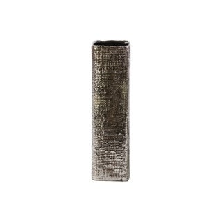 Ceramic Tall Square Vase with Engraved Criss Cross Design LG Antique Silver