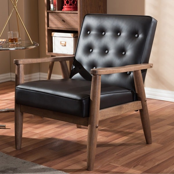 Baxton Studio Sorrento Mid Century Brown Faux Leather Lounge Chair