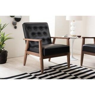 Baxton Studio Sorrento Mid-century Black Faux Leather Lounge Chair