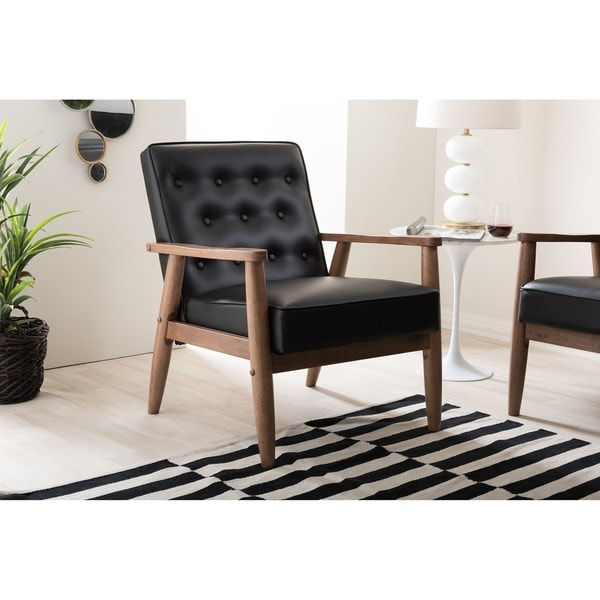 Baxton Studio Sorrento Mid Century Retro Modern Black Faux Leather  Upholstered Wooden Lounge Chair