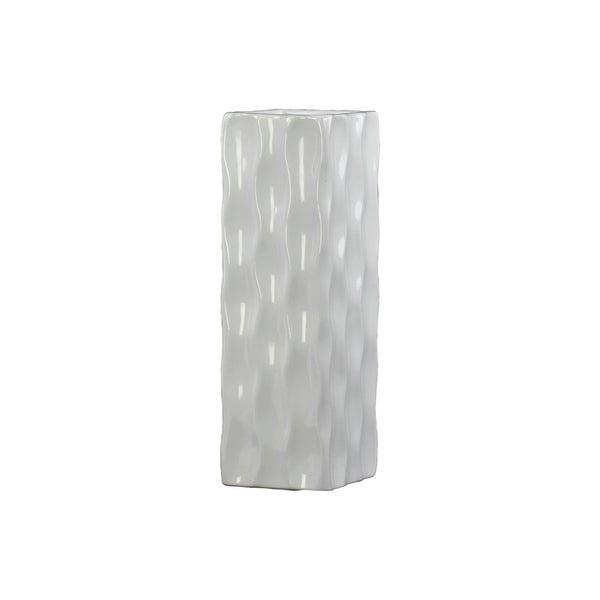 UTC50536: Ceramic Tall Square Vase LG Gloss Finish White