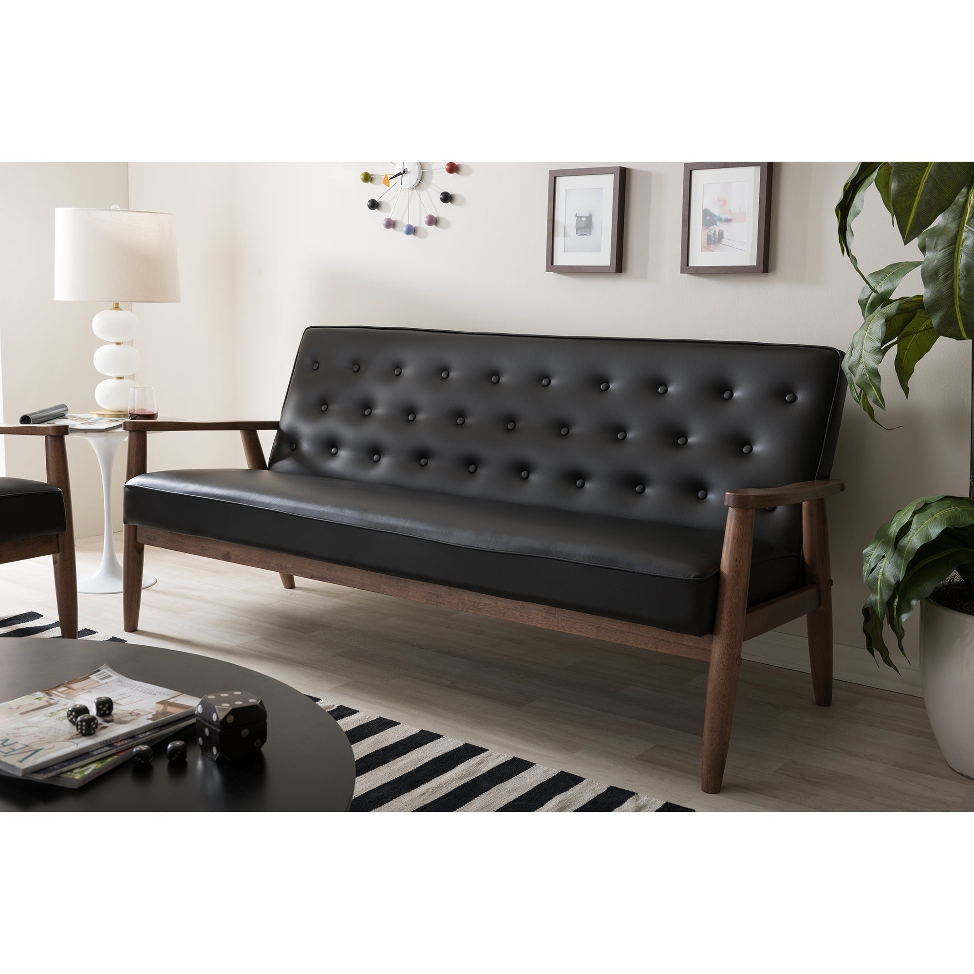 Mid Century Sofa Couch 3 Seat Tufted Modern Black Faux