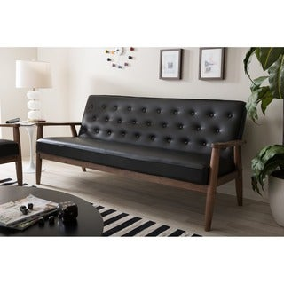 Wonderful Baxton Studio Sorrento Mid Century Retro Modern Black Faux Leather  Upholstered Wooden 3 Seater