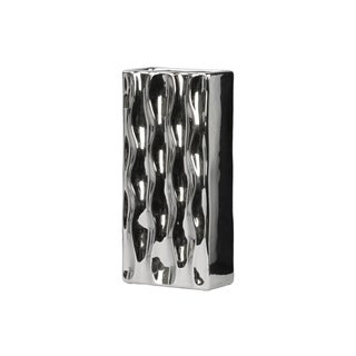 Ceramic Large Chrome Silver Tall Rectangular Vase