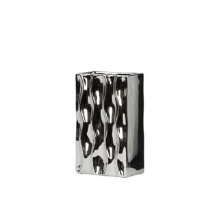 Urban Trends Rectangular Chrome Silver Small Vase