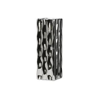 UTC50527: Ceramic Tall Square Vase LG Polished Chrome Finish Silver