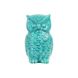 Turquoise Gloss Ceramic Owl Figurine