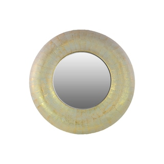 Metal Round Wall Mirror Weathered Gold