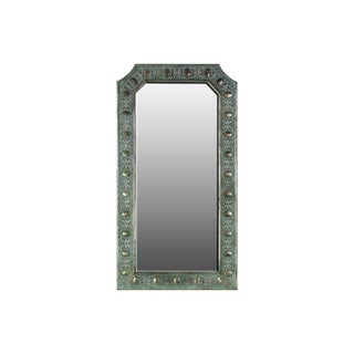 Urban Trends Collection Verdigris Finish Metal Oval Studded Wall Mirror
