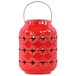 Gloss Red Ceramic Cutout Walls and Metal Handle Cylindrical Lantern