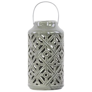 Ceramic Cylindrical Lantern with Cutout Walls and Metal Handle Gloss Grey