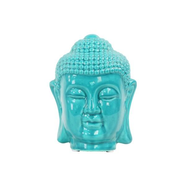 Ceramic Gloss Turquoise Buddha Head with Rounded Ushnisha
