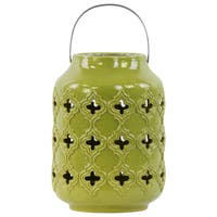 Ceramic Gloss Yellow Green Cylindrical Lantern with Cutout Walls and Metal Handle